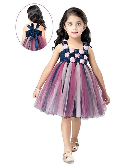 Pink Chick Sleeveless Flower Applique Tulle Flared Dress - Multi Colour