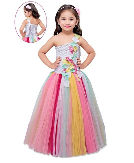 Pink Chick Colourful Flower Applique Tulle Flared Sleeveless Gown - Multi Colour