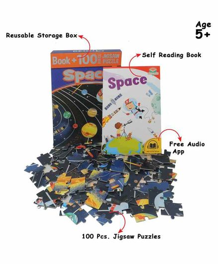 Pegasus Space Book with 100 Pieces of Jigsaw Puzzle - English