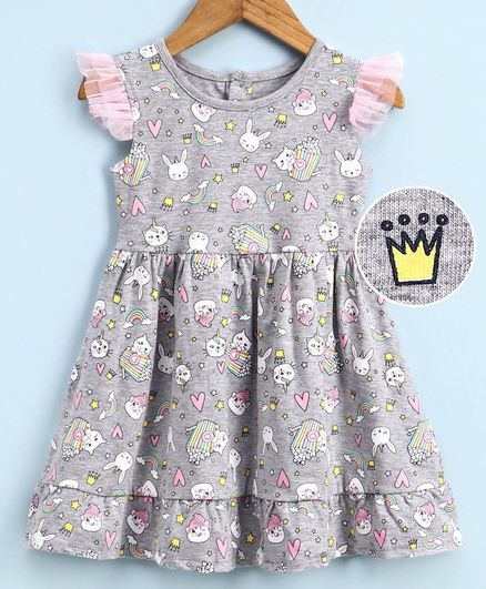 Babyoye Cotton Flutter Sleeves Frock Cat Print - Grey