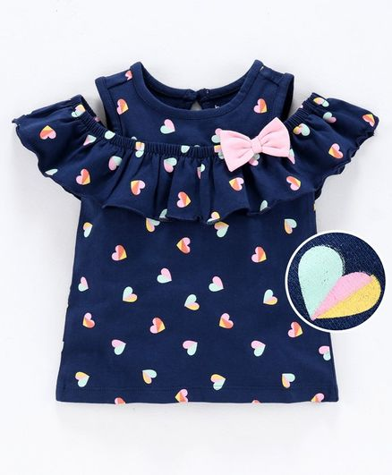 Babyoye Cold Shoulder Printed Top Bow Applique - Navy Blue