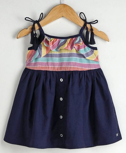 Babyoye Cotton Singlet Striped Frock  - Navy