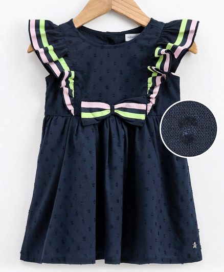 Babyoye Flutter Sleeves Cotton Frock Bow Applique - Navy