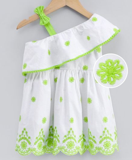 Babyoye Cotton One Shoulder Frock Floral Embroidered - Green White