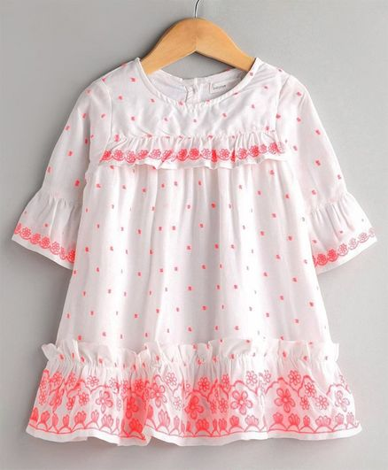 Babyoye Bell Sleeves Cotton Frock Floral Embroidery - White Pink