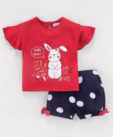 Babyoye Cap Sleeves Top & Polka Dot Shorts Bunny Print  - Red Navy Blue