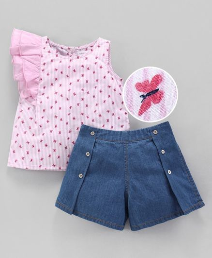 Babyoye Striped Top & Denim Shorts Butterfly Print - Pink & Blue