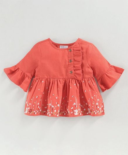 Babyoye Cotton 3/4th Sleeves Ruffled Top Bunny Print - Red
