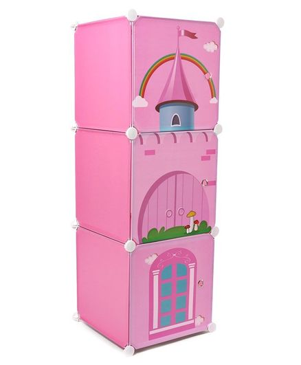 3 Compartment Storage Cabinet - Pink
