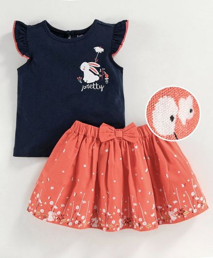 Babyoye Cap Sleeves Cotton Lycra Top & Skirt Bunny Print - Navy Peach