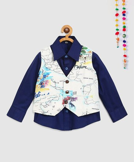 Silverthread Full Sleeves Shirt With Map Print Waist Coat - Blue