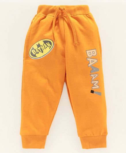 Eteenz Full Length Track Pant Batman Logo Print - Mustard Yellow