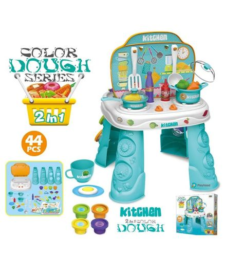 Playhood 2 In 1 Kitchen Set with 4 Play Dough Set Multicolor - 44 Pieces