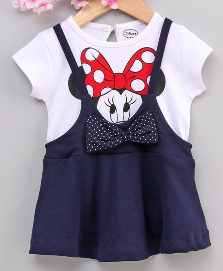 Babyhug Short Sleeves Frock Minnie Mouse Print - White Navy Blue