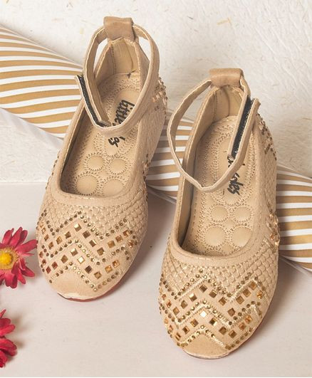 Little Soles Crystals Embellished Mary Janes - Beige