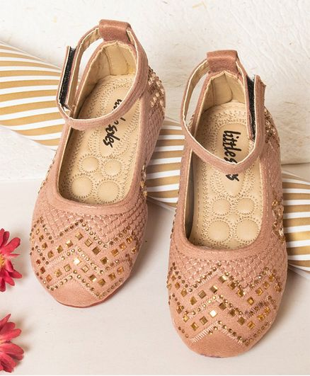 Little Soles Crystals Embellished Mary Janes - Gold