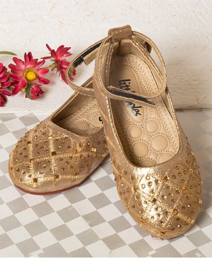 Little Soles Velcro Closure Crystal Detailed Mary Janes - Brown