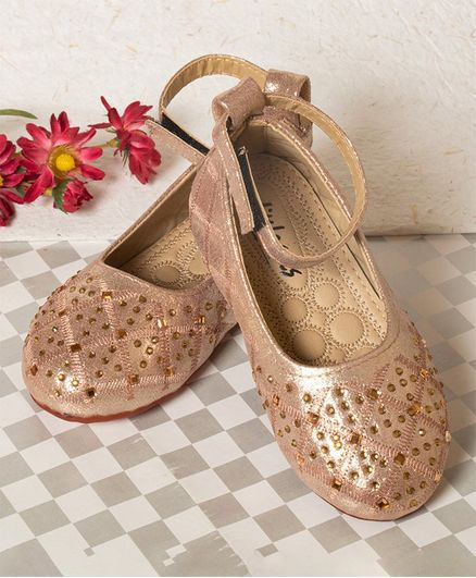 Little Soles Velcro Closure Crystal Detailed Mary Janes - Golden