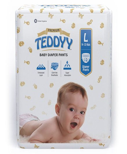 Teddyy Baby Premium Pant Style Diapers Large - 12 Pieces