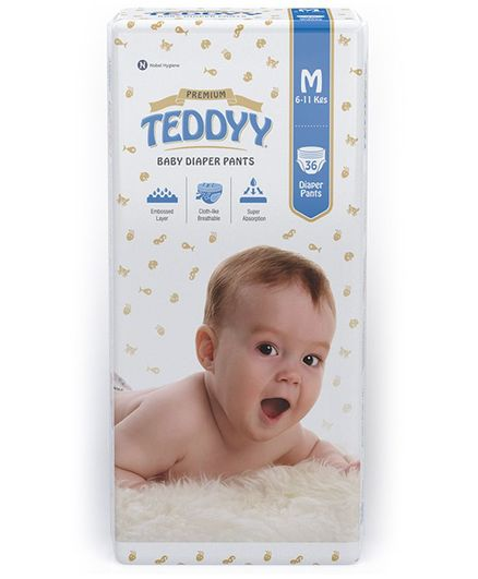 Teddyy Baby Premium Pant Style Diapers Medium - 36 Pieces