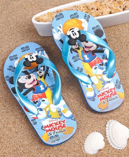Disney Flip Flops with Back Strap Mickey Mouse Print - Light Blue