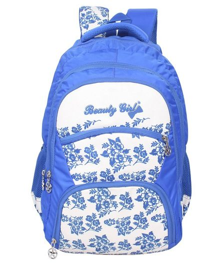 Beauty Girls Water-proof Polyester Backpack White Blue - 18 Inches