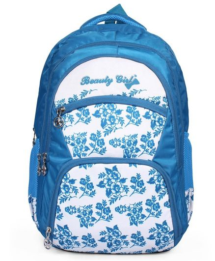 Beauty Girls Water-proof Polyester Backpack White Cyan Blue - 18 Inches