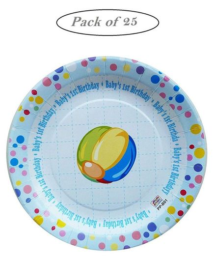 Party Anthem 1st Birthday Disposable Paper Plates Blue - Pack of 25