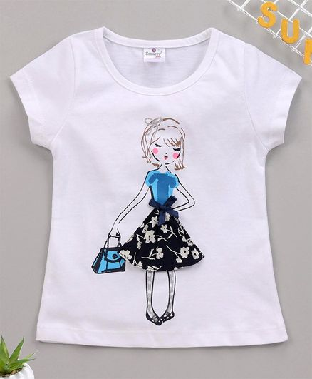 Smarty Short Sleeves Tee Doll Print - White