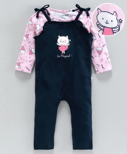 Babyoye Dungaree with Full Sleeves Inner Tee Kitty Print - Pink Navy Blue
