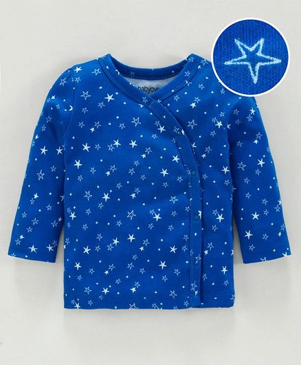 Babyoye Cotton Full Sleeves Jhabla Vest Star Print - Blue