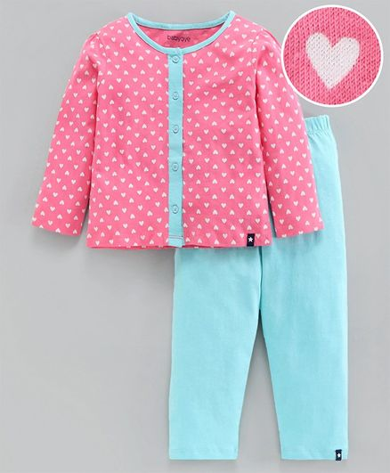 Babyoye Full Sleeves Cotton Night Suit Heart Print - Pink Blue