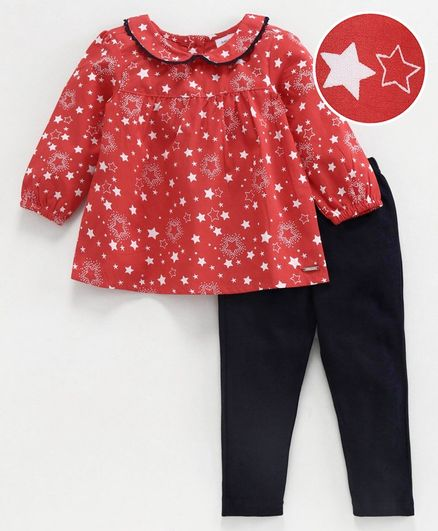 Babyoye Cotton Full Sleeves Top & Legging Star Print - Red Navy