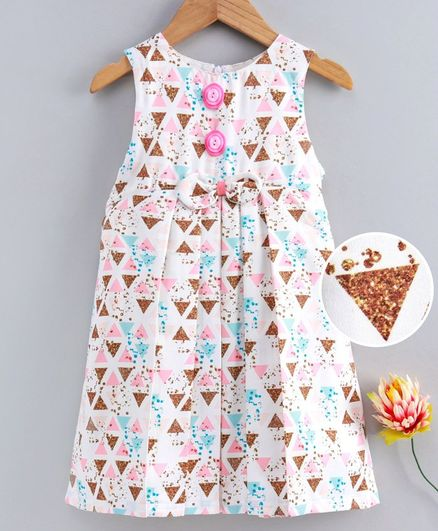 Yellow Duck All Over Triangle Printed Sleeveless Dress - Baby Pink & White