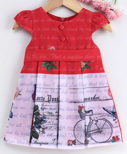 Yellow Duck Cap Sleeves Letter Print Detailing Box Pleated Dress - Red