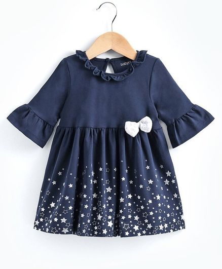 Babyoye Three Fourth Sleeves Cotton Lycra Frock Glitter Star Print - Navy Blue