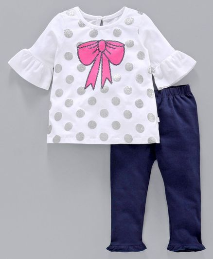 Babyoye Cotton Three Fourth Sleeves Top with Leggings Bow Print - White Blue