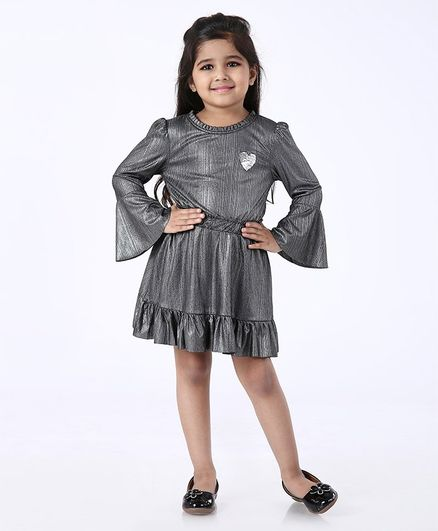 Babyoye Party Wear Cotton Frock Heart Sequin - Dark Grey