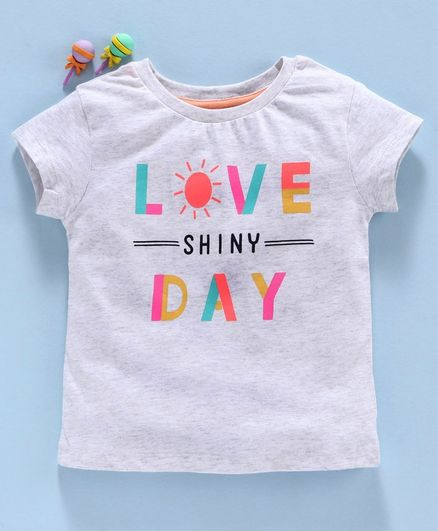 Vitamins Short Sleeves Top Text Print - Grey