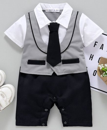 Mark & Mia Half Sleeves Party Wear Romper with Mock Waist Coat & Tie - Grey White