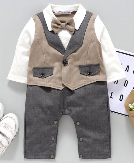 Mark & Mia Half Sleeves Party Wear Romper with Bow & Mock Waist Coat - Brown White