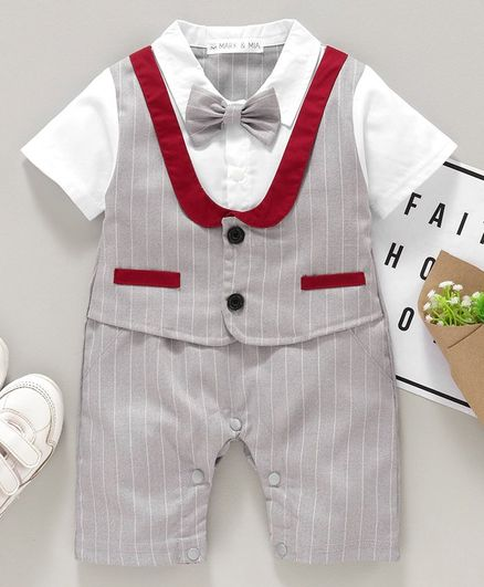 Mark & Mia Half Sleeves Striped Party Wear Romper with Bow & Mock Waist Coat - Light Grey White