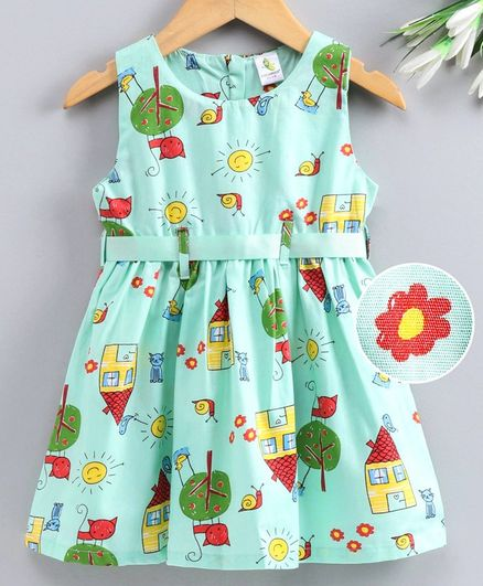 Cucumber Sleeveless Frock House Print - Sea Green