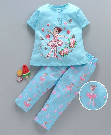 Cucumber Half Sleeves Night Suit Girl Print - Blue