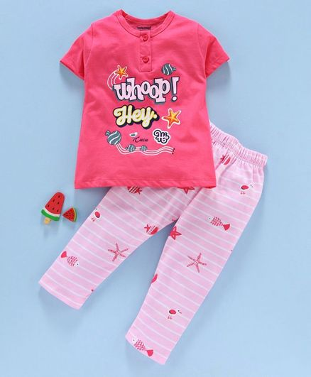 Cucumber Short Sleeves Night Suit Text Print - Pink