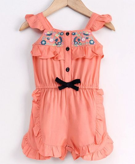 Babyoye Flutter Sleeves Cotton Jumpsuit Style Romper Floral Embroidered - Coral