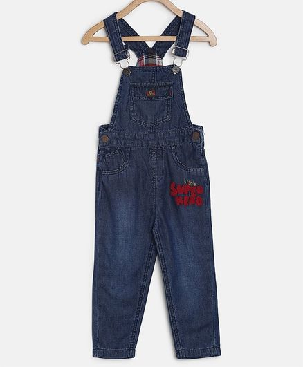 Tales & Stories Super Hero Patch Detailed Sleeveless Dungaree - Dark Blue
