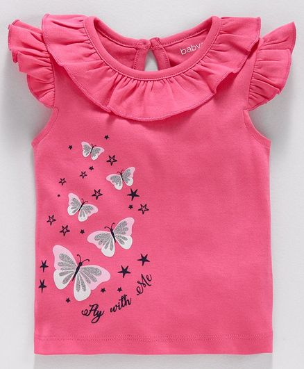 Babyoye Cap Sleeves Top Butterfly Print - Pink