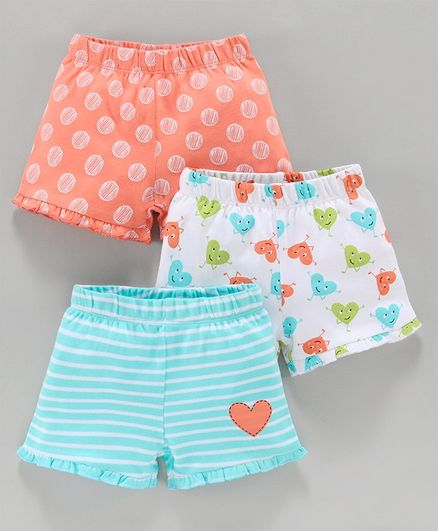 Babyoye Cotton Shorts Striped & Printed Pack of 3 - Blue Orange White