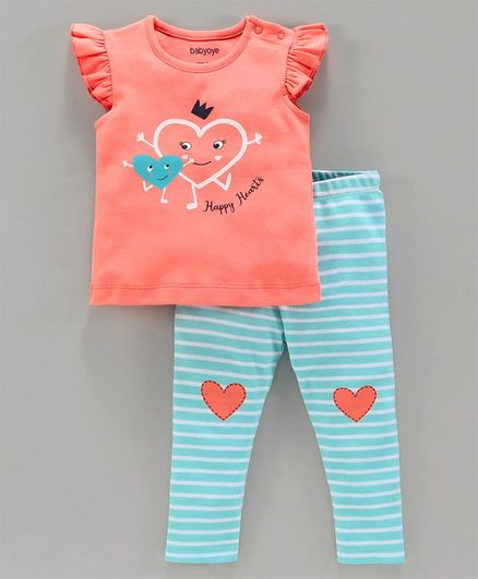 Babyoye Cotton Cap Sleeves Top & Stripe Leggings Heart Print - Coral Blue